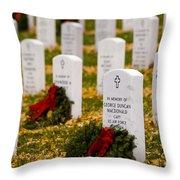 Christmas Wreaths Laid At The Arlington Cemetery Throw Pillow