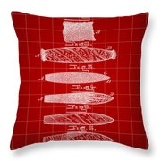 Cigar Patent 1887 - Red Throw Pillow