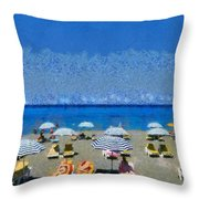 Beach At The City Of Rhodes Throw Pillow