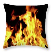 Close-up Of Fire Flames Throw Pillow