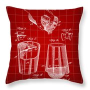 Cocktail Mixer And Strainer Patent 1902 - Red Throw Pillow