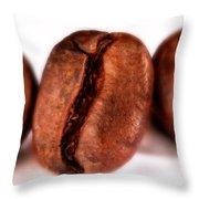 3 Coffee Beans Throw Pillow