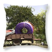 Coils Of Thick Plastic Pipe On A Carrier Wagon Throw Pillow