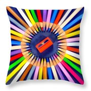 Colorful Pencils Throw Pillow