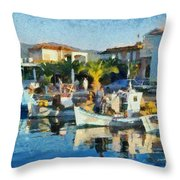 Colorful Port Throw Pillow