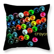 Colorful Wonderful Crayons Throw Pillow