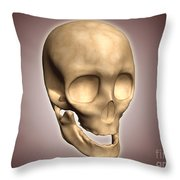 Conceptual Image Of Human Skull Throw Pillow by Stocktrek Images