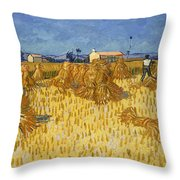 Corn Harvest In Provence Throw Pillow