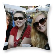3 Cutie Amigas Throw Pillow