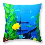 3-d Aquarium Throw Pillow