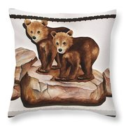 3-d Bearizona Bear Babies Throw Pillow