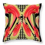 Dancing Tulip Red Exotic Flower Petal Based Wave Pattern  Created By Navinjoshi Reiki Healing Master Throw Pillow