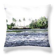 Digital Oil Painting - A Houseboat On Its Quiet Sojourn Through The Backwaters Throw Pillow