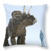 Dinosaur Diceratops Throw Pillow