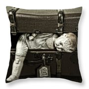 Doll In Suitcase Throw Pillow