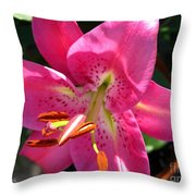Dwarf Oriental Lily Named Farolito Throw Pillow