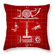 Edison Phonograph Patent 1878 - Red Throw Pillow