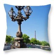 Eiffel Tower And Bridge On Seine River In Paris Throw Pillow