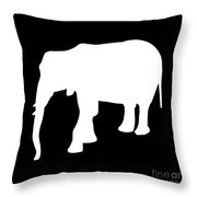 Elephant In Black And White Throw Pillow