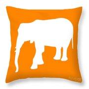 Elephant In Orange And White Throw Pillow