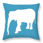 Elephant In White And Turquoise Throw Pillow