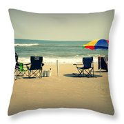 3 Empty Beach Chairs Throw Pillow