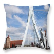 Erasmus Bridge In Rotterdam Throw Pillow