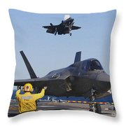F-35b Lighnting II Variants Land Aboard Throw Pillow