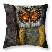 Faux Owl With Golden Eyes Throw Pillow