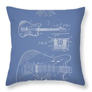 Fender Electric Guitar Patent Drawing From 1966 Throw Pillow