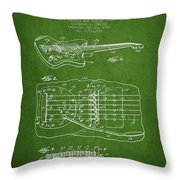 Fender Floating Tremolo Patent Drawing From 1961 - Green Throw Pillow