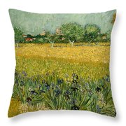 Field With Flowers Near Arles Throw Pillow