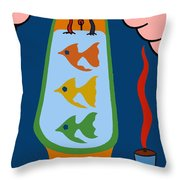 3 Fish In A Tub Throw Pillow