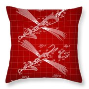Fish Lure Patent 1933 - Red Throw Pillow