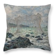 Fishing Nets At Pourville Throw Pillow