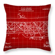 Flying Machine Patent 1903 - Red Throw Pillow