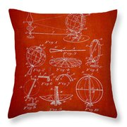 Folding School Globe Patent Drawing From 1887 Throw Pillow
