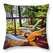 Forest Cottage Deck And Chairs Throw Pillow