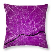 Frankfurt Street Map - Frankfurt Germany Road Map Art On Colored Throw Pillow