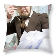 Frustrated Businessman Throw Pillow