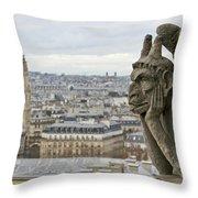 Gargoyle Overlooking Paris Throw Pillow