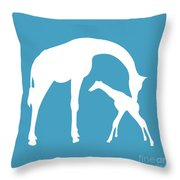 Giraffe In White And Turquoise Throw Pillow