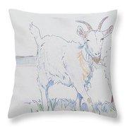 Goat Drawing Throw Pillow