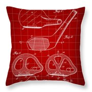 Golf Club Patent 1926 - Red Throw Pillow
