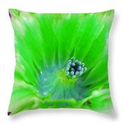 Green Cactus Flower Throw Pillow