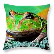 Green Fantasy Frogpacman Frog Throw Pillow