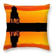 Groyne Lighthouse At Sunrise Throw Pillow