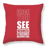 Gym Motivational Quotes Poster Throw Pillow by Lab No 4 - The Quotography Department