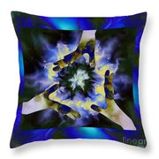 3  Hands Creating #2 Throw Pillow by Elizabeth McTaggart