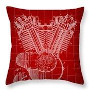 Harley Davidson Engine Patent 1919 - Red Throw Pillow